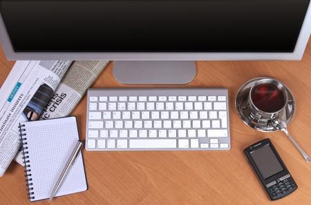 Werkplek op kantoor bovenaanzicht close-up Stockfoto - 9253467