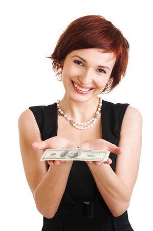 1 person: Foto de una mujer sosteniendo un fan de billetes de 100 d�lares. sobre fondo blanco Foto de archivo