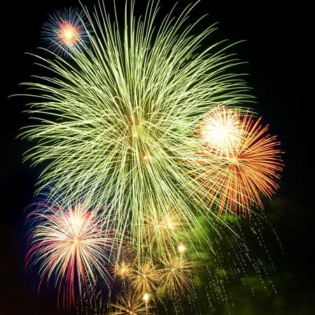 밤 하늘에 밝은 화려한 불꽃 놀이와 다양한 색상의 경례 스톡 콘텐츠 - 9892724