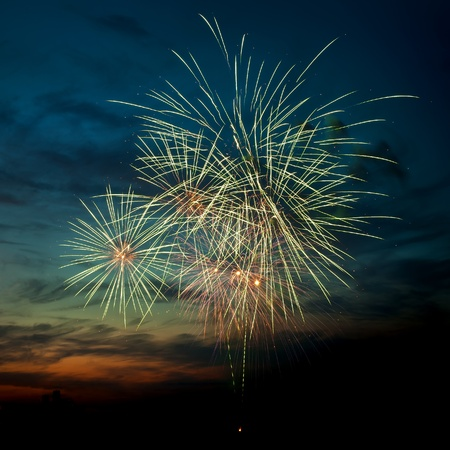 Brightly colorful fireworks and salute of various colors in the night sky Stock Photo - 9885459