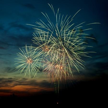 Helder kleurrijk vuurwerk en groeten van verschillende kleuren in de nachtelijke hemel Stockfoto - 9885459