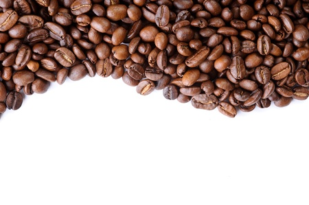 aromatic coffee beans against a white background