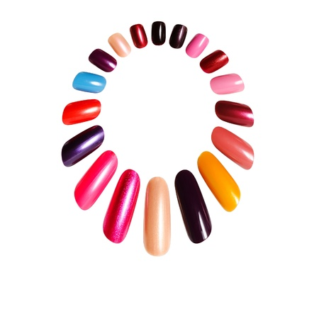 Colorful frame. Figures on nails against a white background 스톡 콘텐츠