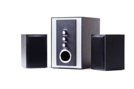 tightly: 2.1 sound system on a white background
