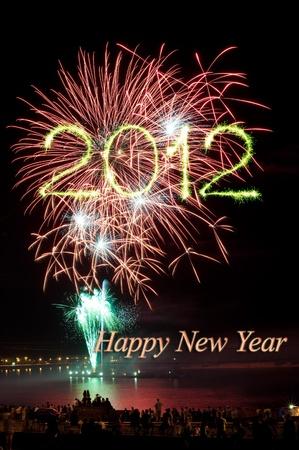Nieuw jaar 2012 helder kleurrijk vuurwerk en groeten van verschillende kleuren in de nachtelijke hemel
