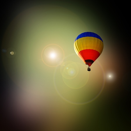 travel of bright colorful hot air balloon in the space Stock Photo - 11295440