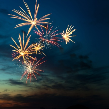 Brightly colorful fireworks and salute of various colors in the night sky Stock Photo - 11295435