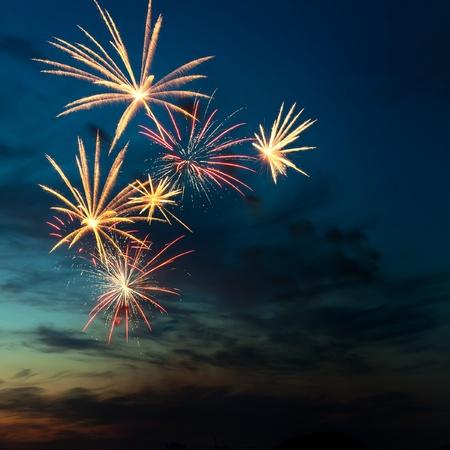 Fényesen színes tűzijáték és tisztelgett a különböző színek az éjszakai égbolton
