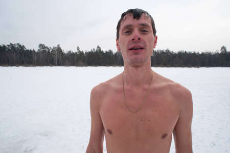 The winter swimmer outdoor after swimming, Siberia Stock Photo - 12406857