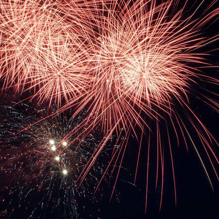 Colorful fireworks over dark sky, displayed during a celebration 스톡 콘텐츠