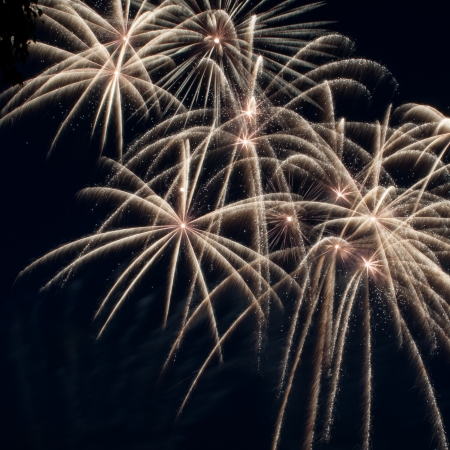 Colorful fireworks over dark sky, displayed during a celebration photo