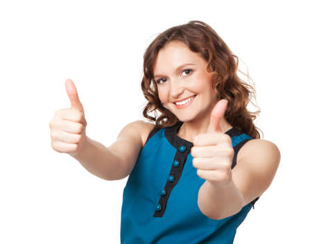 two thumbs up: Portrait of a smiling woman while giving two thumbs up on white background