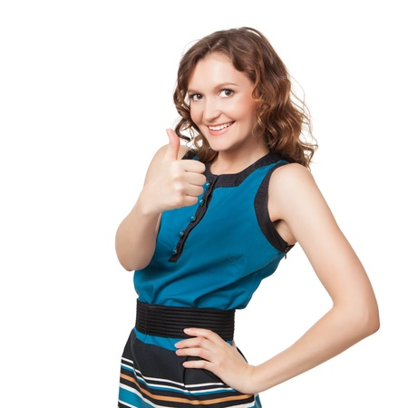 acclamation: Portrait of a smiling woman while giving two thumbs up on white background