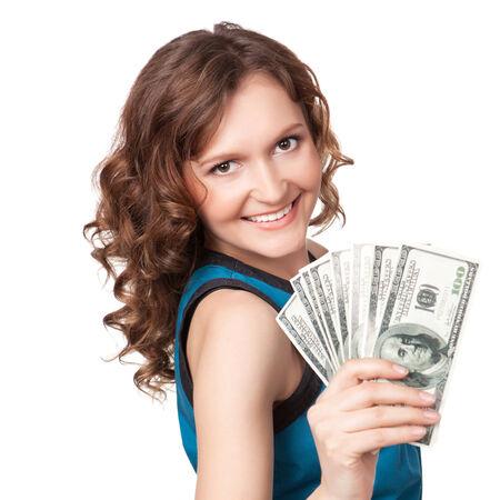 꽤 젊은 여자는 흰색 배경에 달러 지폐의 팬을 들고의 초상화
