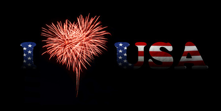 fireworks in a red heart shape with the U.S. flag on a black background. I love usa
