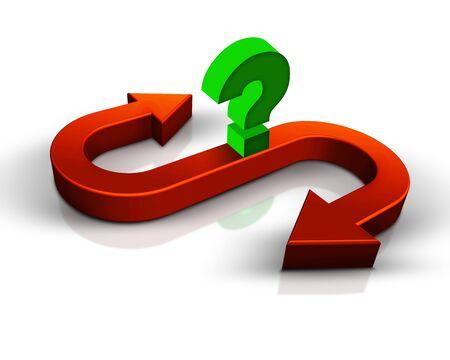 Arrow and question mark