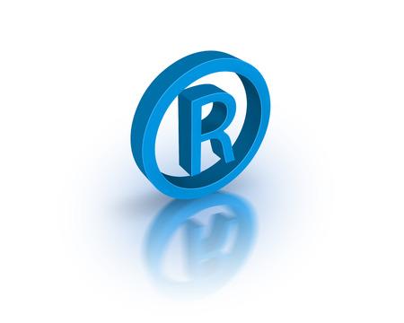 trademark: Blue registred trademark Stock Photo