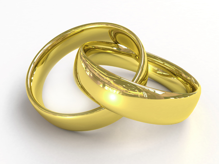 fiancee: Gold wedding rings Stock Photo