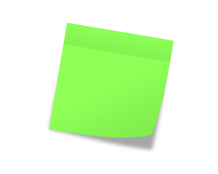 memo pad: Green sticky note Stock Photo