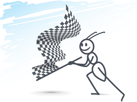 Ant waving a race flag