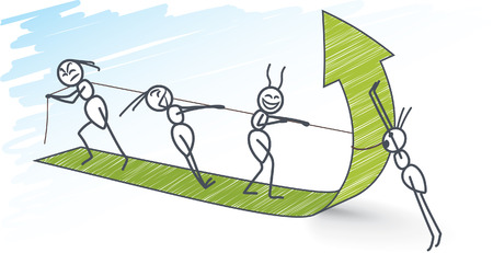 Ants pulling a green arrow