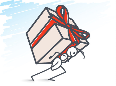 Ant carrying a large gift box