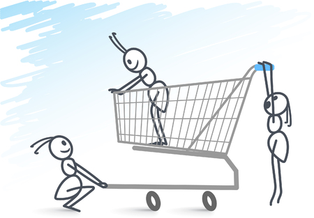 Ants shopping Illustration