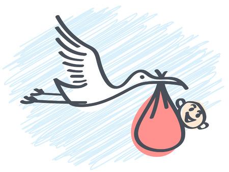 cigogne portant un bébé