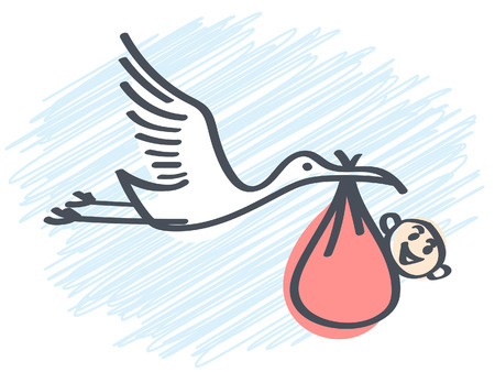 stork carrying a baby Illustration