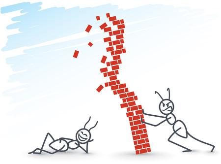 concrete block: Ant pushing a brick wall