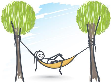 Ant relaxing in hammock chair Stock Illustratie
