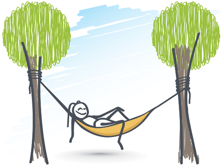 Ant relaxing in hammock chair Vectores