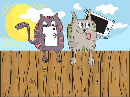 Cats using smartphones