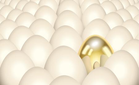 reflection of life: Single golden egg Illustration