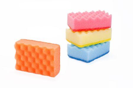 varicoloured: Few varicoloured bath sponges Stock Photo