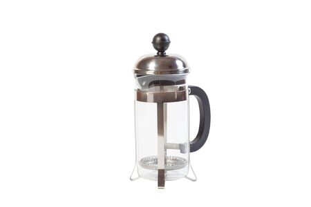 cheerfulness: French Press glass isolated on white background Stock Photo