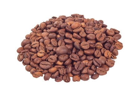 Heap of the coffee beans isolated on white background