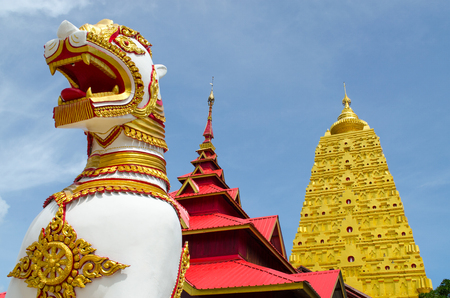 Lion statue in Asian with Cloud and Blue Sky, Myanmar Temple.