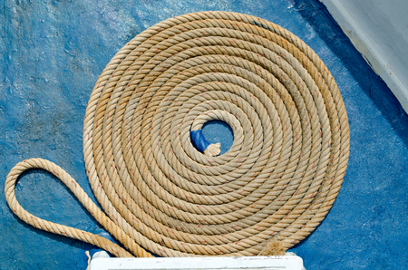 Coiled Marine or Nautical Rope on Fishing Boat