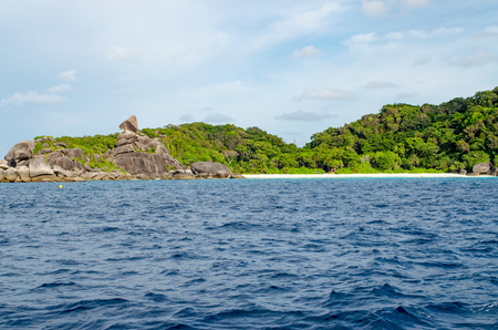 Beautiful Seascape with Focus on the Forest on the Mountain Rock in the Sea at Similan Islands, Thailand. Stock Photo