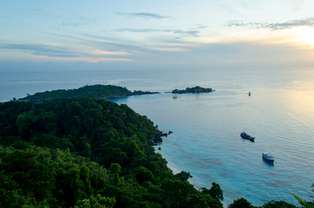 Take a photo in the Morning of Viewpoint at Similan Islands, Thailand, Sunrise. Stock Photo