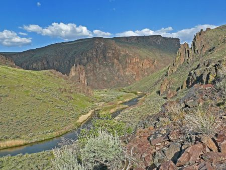 omnibus: This photo was taken in the Owyhee-Bruneau Wilderness, a newly designated wilderness.  This newest American wilderness is centered on the Owyhee River and its tributaries in the southwest part of Idaho.  It was created by the 2009 Omnibus National Public  Stock Photo