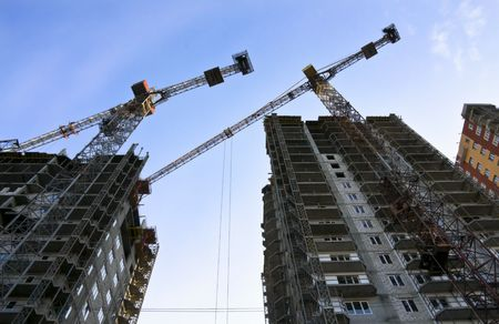 Construction work of high apartment building Stock Photo - 3773260