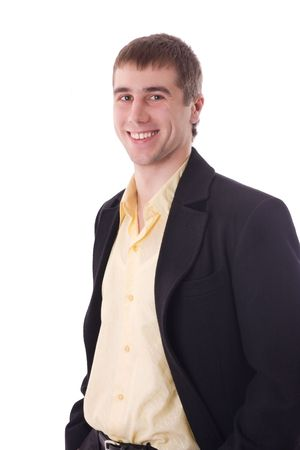 Happy young businessman smiling isolated over white photo