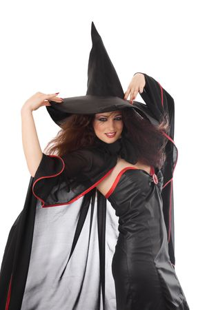 Beautiful young witch for Halloween over white Stock Photo - 5899015