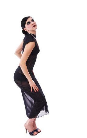 Retro styled seductive girl in dark dress photo