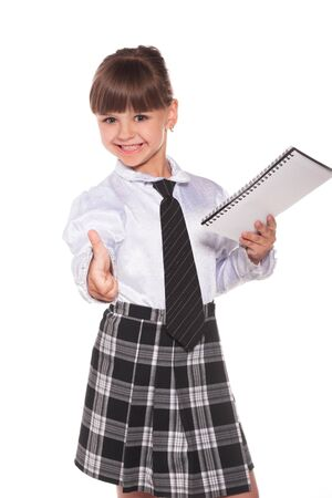 datebook: Successful little businesswoman with datebook isolated