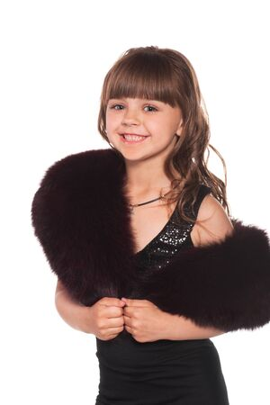 Beautiful little girl with fur mantlet photo