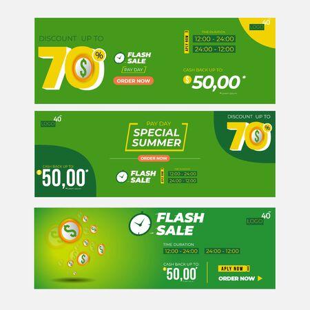 flash sale premium inscription design template. summer sale banner. Vector illustration flyer or poster promotion