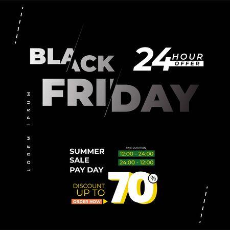 Black Friday sale premium inscription design template. Black Friday banner. Vector illustration flyer or poster promotion Archivio Fotografico - 129794667
